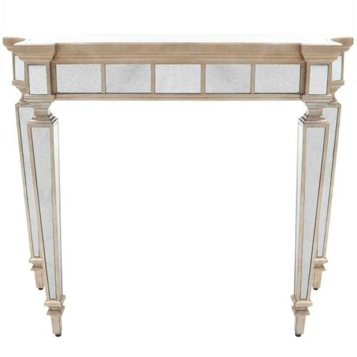 Butler Specialty Company - This beautiful console table will make a dramatic statement in the foyer or other living space. Expertly crafted from hardwood solids and wood products, it boasts graceful curves and antique mirror inlays on its top, apron and legs with a contrasting pewter finished trim.