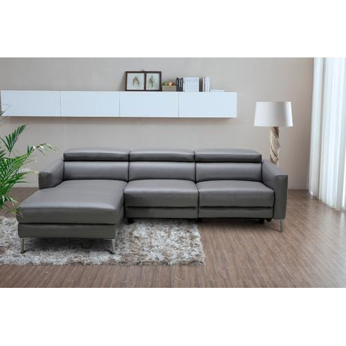 VIG Furniture - Divani Casa - Booth Modern Dark Grey Leather Left Facing Sectional Sofa with Recliner