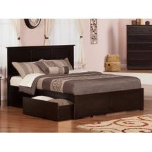Madison Queen Flat Panel Foot Board with 2 Urban Bed Drawers Espresso