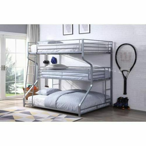 ACME Caius II Bunk Bed - Triple Twin/Full/Queen - 37790 - Silver