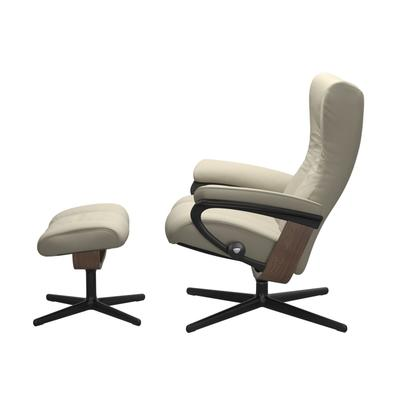 See Details - Stressless® Wing (M) Cross Chair with Ottoman