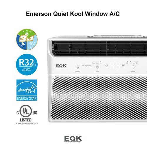 Emerson Quiet Kool SMART Window Air Conditioner,8,000 Btu 115V, With Wifi and Voice Control, Works with Amazon Alexa and Google Home, Energy Star Certified, EBRC8RSE1H