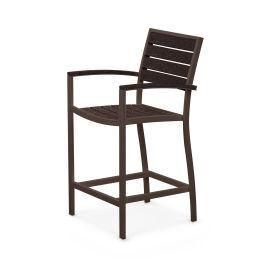 Polywood Furnishings - Eurou2122 Counter Arm Chair in Textured Bronze / Mahogany
