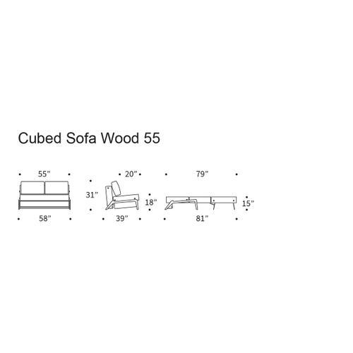 "CUBED 02 SOFA FRONT/MID SEAT, 55""X79""/CUBED 02 SOFA BACK & CUSHIONS, 55""X""79/CUBED SOFA LEGS, DARK WOOD,"
