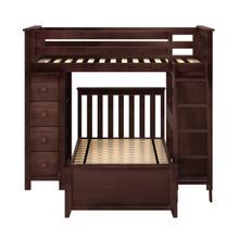 See Details - All in One Loft Bed Storage Study + Twin Bed Espresso