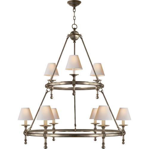 E. F. Chapman Classic 9 Light 45 inch Antique Nickel Chandelier Ceiling Light