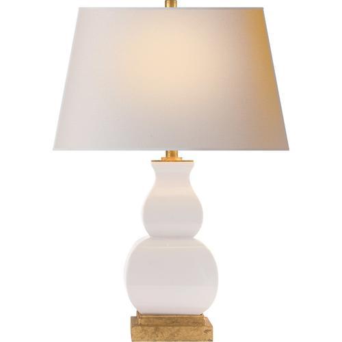 - E. F. Chapman Fang Gourd 27 inch 150.00 watt Ivory Crackle Ceramic Decorative Table Lamp Portable Light