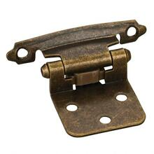 """Traditional 1/2"""" Overlay Hinge with Screws - Antique Brass"""
