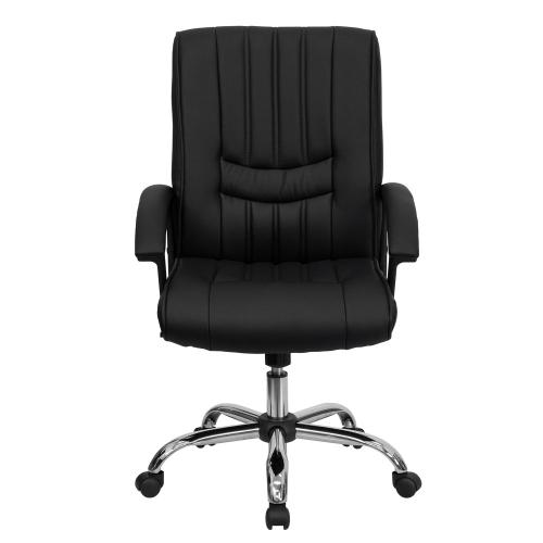 Mid-Back Black Leather Swivel Manager's Chair with Arms