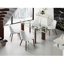 The Torino Extendable Walnut Veneer W Tempered Glass Dining Tables