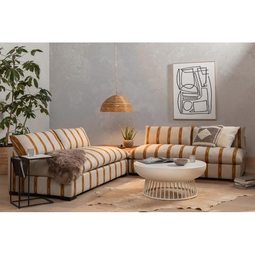 W/ Corner + End Table Configuration Zella Amber Finish Grant Sectional + Tables