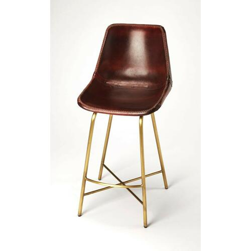 Butler Specialty Company - Enhance your kitchen, bar or work space with this contemporary leather counter stool. Its high-back composite seat is fully upholstered in vintage brown leather with distinctive leather cross-stitching. Its iron base features a footrest and X stretcher in an antique gold finish.