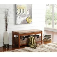 ACME Letha Bench w/Storage - 96622 - Light Brown Microfiber & Walnut