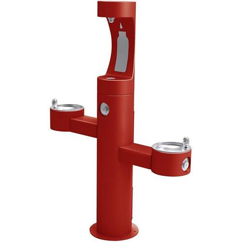 Elkay - Elkay Outdoor EZH2O Bottle Filling Station Tri-Level Pedestal, Non-Filtered Non-Refrigerated Red