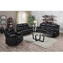 Eden Black Leather Reclining Loveseat