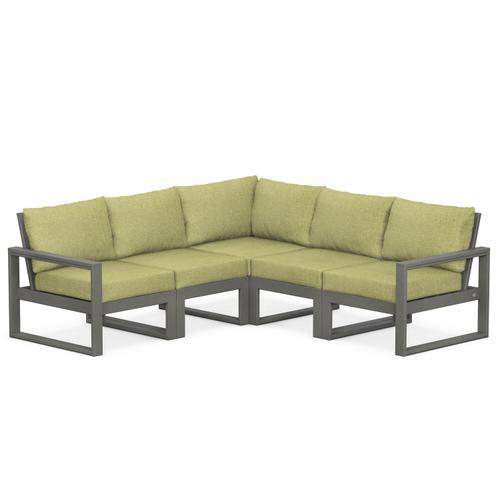 Polywood Furnishings - EDGE 5-Piece Modular Deep Seating Set in Slate Grey / Chartreuse Boucle