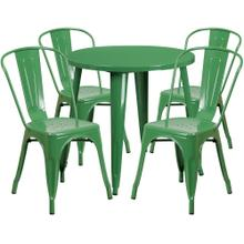 30'' Round Green Metal Indoor-Outdoor Table Set with 4 Cafe Chairs