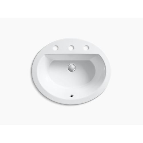 "White Drop-in Bathroom Sink With 8"" Widespread Faucet Holes"