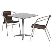 27.5'' Square Aluminum Indoor-Outdoor Table Set with 2 Dark Brown Rattan Chairs