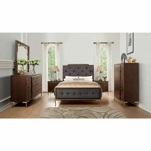 ACME Eschenbach Queen Bed - 25960Q - Charcoal Fabric & Cherry