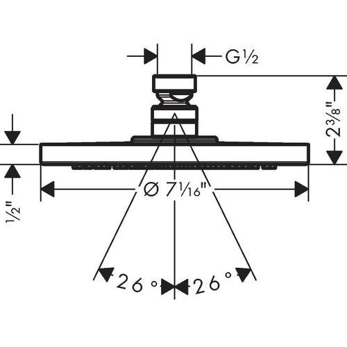 Brushed Nickel Showerhead 180 1-Jet PowderRain, 2.0 GPM