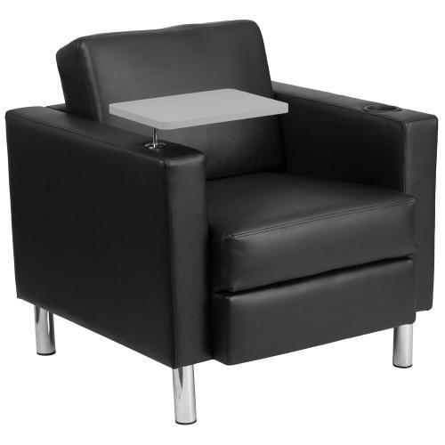 Black Leather Guest Chair with Tablet Arm, Tall Chrome Legs and Cup Holder