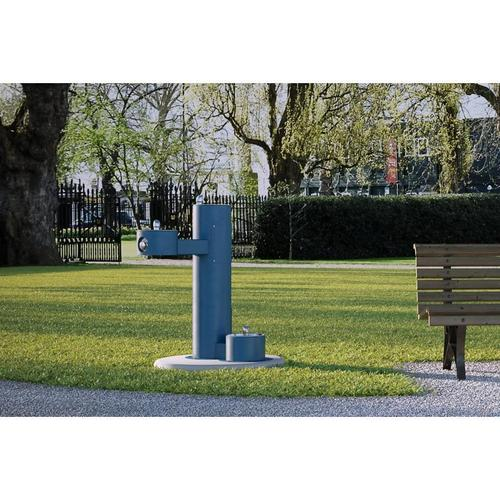 Elkay - Elkay Outdoor Fountain Bi-Level Pedestal with Pet Station, Non-Filtered Non-Refrigerated Blue