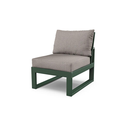 Green & Weathered Tweed Modular Armless Chair