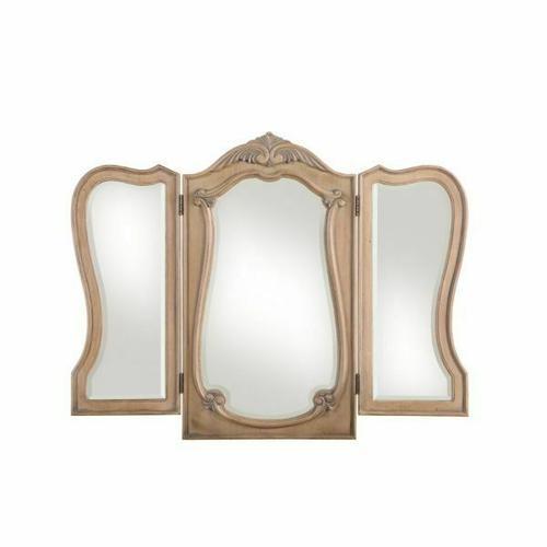 ACME Teagan Vanity Mirror - 22100 - Traditional - Wood (Poplar), Wood Veneer (Pine), Poly-Resin, MDF - Oak
