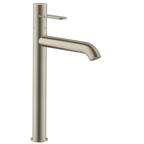 Brushed Nickel Single lever basin mixer 250 with loop handle for wash bowls and waste set