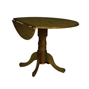 Round Dropleaf Pedestal Table in Oak