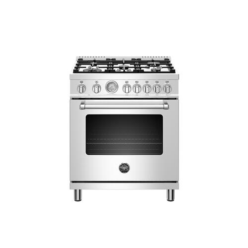 Bertazzoni - 30 inch Dual Fuel, 5 Burners, Electric Oven Stainless Steel