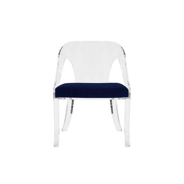 """Round Back Acrylic Chair With Navy Velvet Cushion Seat Height: 17.5"""""""