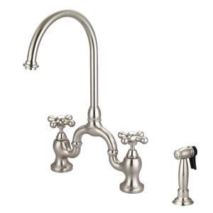 Banner Kitchen Bridge Faucet with Metal Button Cross Handles - Brushed Nickel Product Image