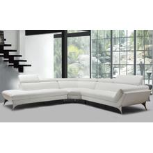 View Product - Divani Casa Graphite - Modern White Leather Left Facing Sectional Sofa