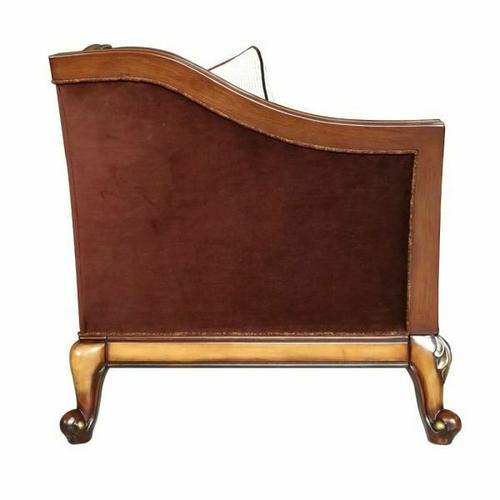 ACME Beredei Sofa w/7 Pillows - 50665 - Fabric & Antique Oak