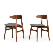 View Product - Modrest Prospect - Modern Grey Fabric & Walnut Dining Chair (Set of 2)