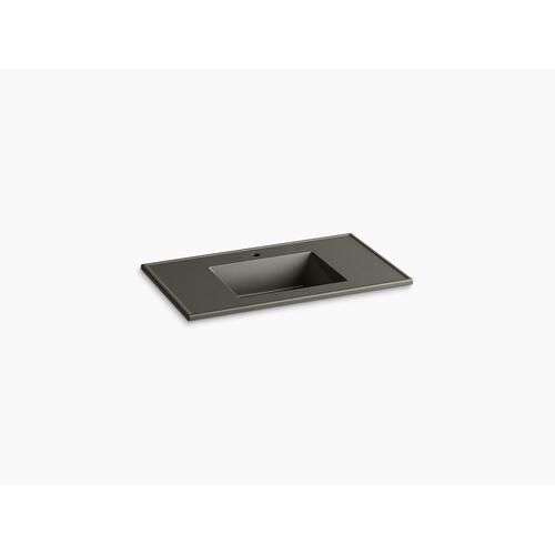 "Cashmere Impressions 37"" Rectangular Vanity-top Bathroom Sink With Single Faucet Hole"