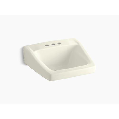 "Biscuit 20"" X 18-1/4"" Wall-mount/concealed Arm Carrier Arm Bathroom Sink With 4"" Centerset Faucet Holes"