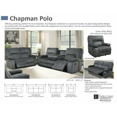 Parker House - CHAPMAN - POLO Manual Drop Down Console Sofa