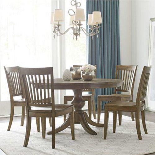 """Gallery - The Nook 54"""" Round Brushed Oak Dining Table with Wood Base"""