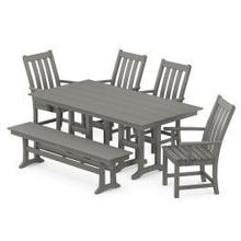 View Product - Vineyard 6-Piece Farmhouse Trestle Side Chair Dining Set with Bench in Slate Grey