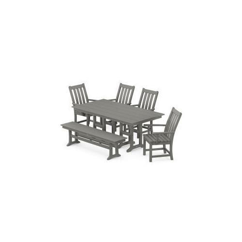 Polywood Furnishings - Vineyard 6-Piece Farmhouse Trestle Side Chair Dining Set with Bench in Slate Grey