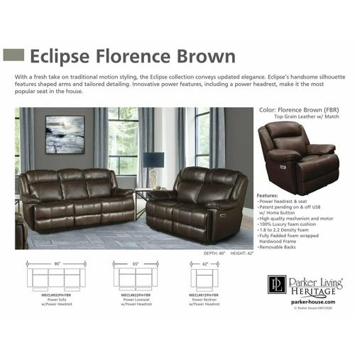 Parker House - ECLIPSE - FLORENCE BROWN Power Reclining Collection