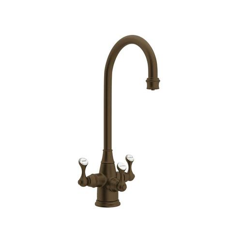 Georgian Era Filtration 3-Lever Bar and Food Prep Faucet - English Bronze with Metal Lever Handle
