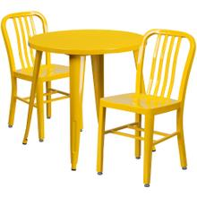 30'' Round Yellow Metal Indoor-Outdoor Table Set with 2 Vertical Slat Back Chairs