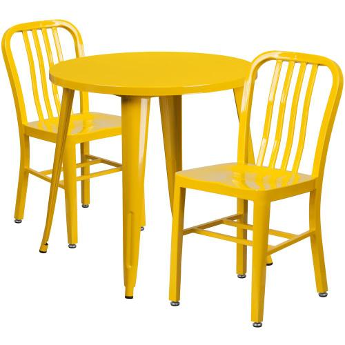 Alamont Furniture - 30'' Round Yellow Metal Indoor-Outdoor Table Set with 2 Vertical Slat Back Chairs