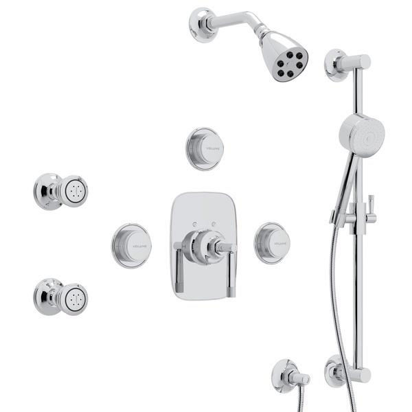 Polished Chrome GRACELINE THERMOSTATIC SHOWER PACKAGE with Metal Lever Graceline Series Only