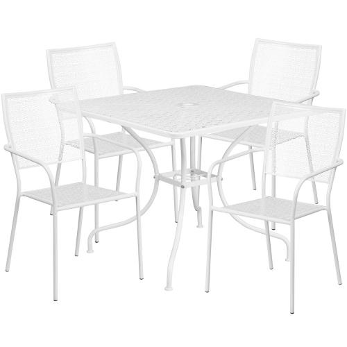35.5'' Square White Indoor-Outdoor Steel Patio Table Set with 4 Square Back Chairs