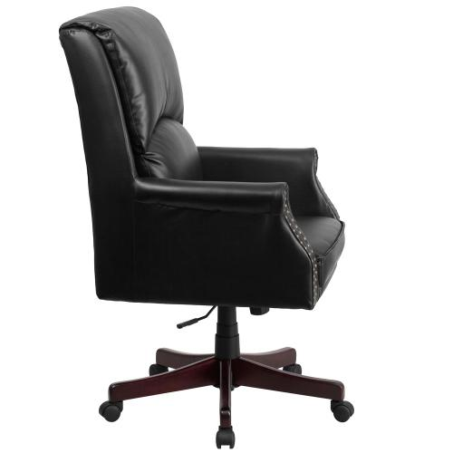 High Back Pillow Back Black Leather Executive Swivel Chair with Arms